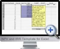 NPV and IRR Template screenshot